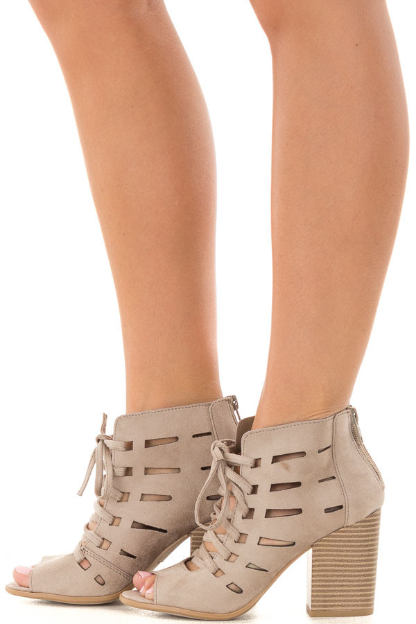 Clay Faux Suede Lace Up Open Toe Bootie with Cutout Detail side view