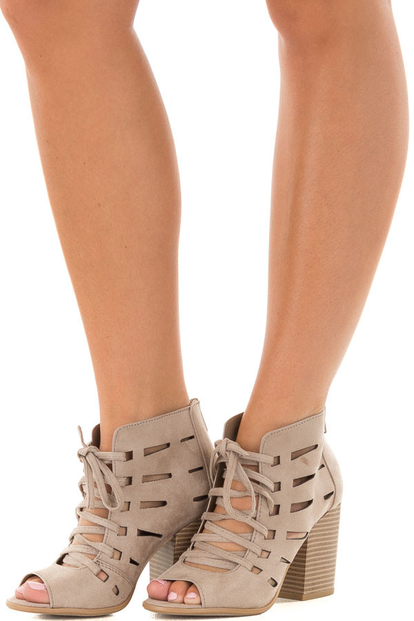 Clay Faux Suede Lace Up Open Toe Bootie with Cutout Detail front side view