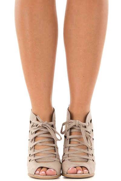 Clay Faux Suede Lace Up Open Toe Bootie with Cutout Detail front view
