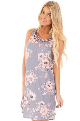 Lilac Floral Print Short Tank Dress with Criss Cross Neck front close up