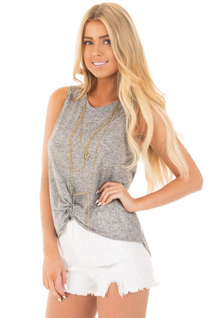 Heather Grey Sleeveless Tank with Knot Detail front close up