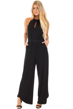 Black Keyhole Halter Neck and Wide Leg Jumpsuit front full body