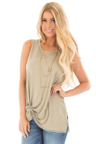 Fern Self Tie Tank Top with Chiffon Hemline Detail front full body