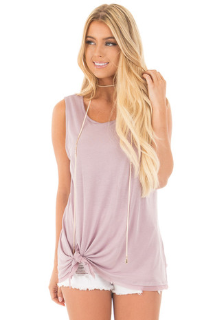 Lavender Self Tie Tank Top with Chiffon Hemline Detail front close up