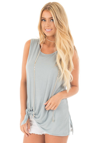 Sea Mist Self Tie Tank Top with Chiffon Hemline Detail front close up