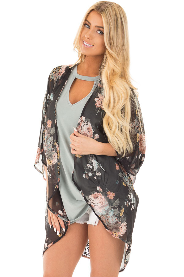 Black Floral Print Kimono with Rounded Hem front close up