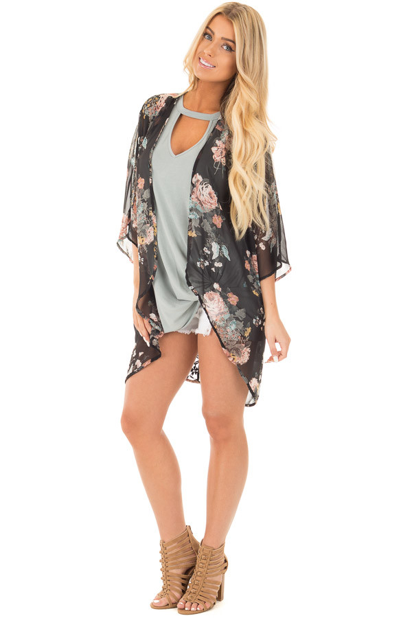 Black Floral Print Kimono with Rounded Hem front full body
