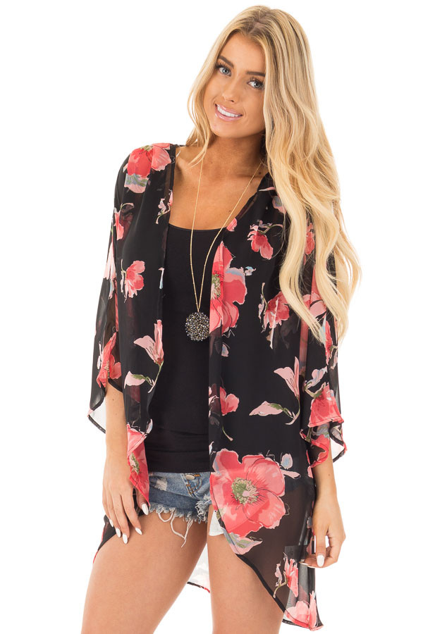 Black Open Front Kimono with Coral Floral Design front close up