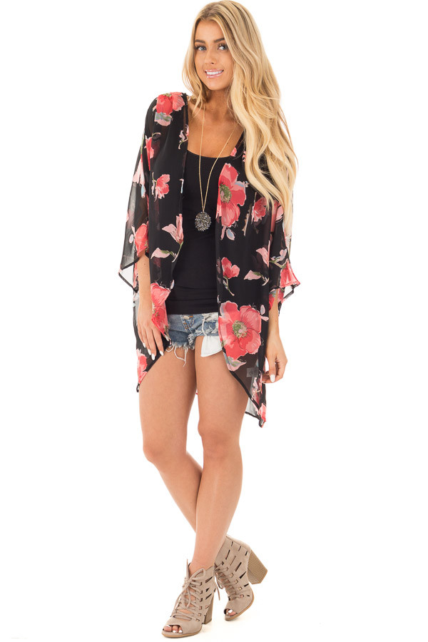 Black Open Front Kimono with Coral Floral Design front full body