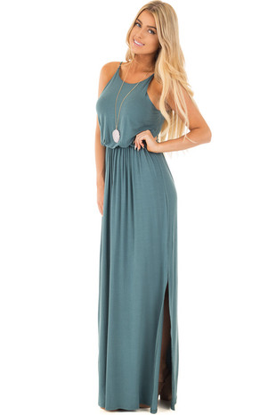 Antique Blue Maxi Dress with Side Slit front full body