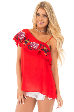 Cherry Red One Shoulder Ruffle Top with Embroidery Detail front close up
