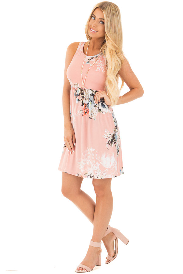 Blush Floral Racerback Mini Dress with Hidden Pockets front full body