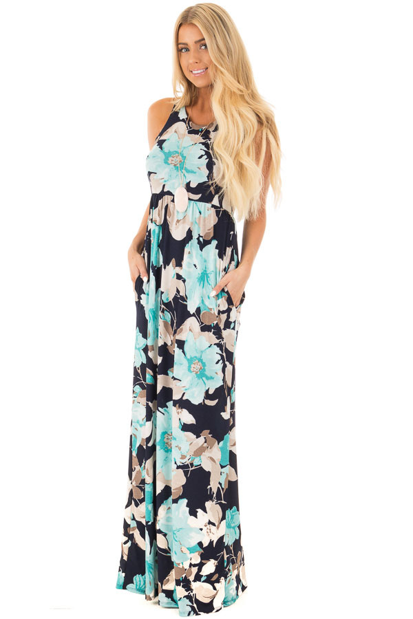 Navy Big Floral Slinky Racerback Dress with Side Pockets front full body