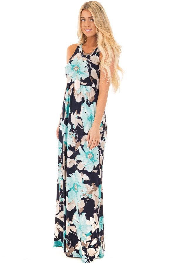 Navy Big Floral Slinky Racerback Dress with Side Pockets side full body