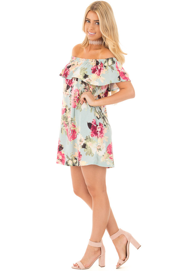 Dusty Mint Floral Print Off Shoulder Dress with Side Pockets side full body