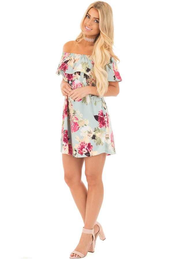 Dusty Mint Floral Print Off Shoulder Dress with Side Pockets front full body