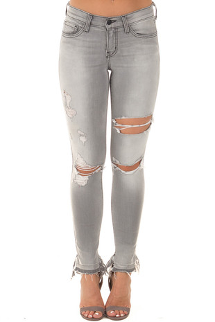 Steel Grey Distressed Skinny Jeans with Split Cuff Detail front view