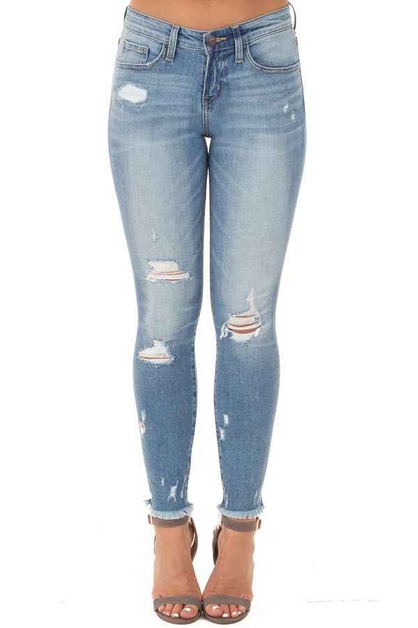 Medium Wash Distressed Cropped Skinny Jeans with Frayed Hem front view