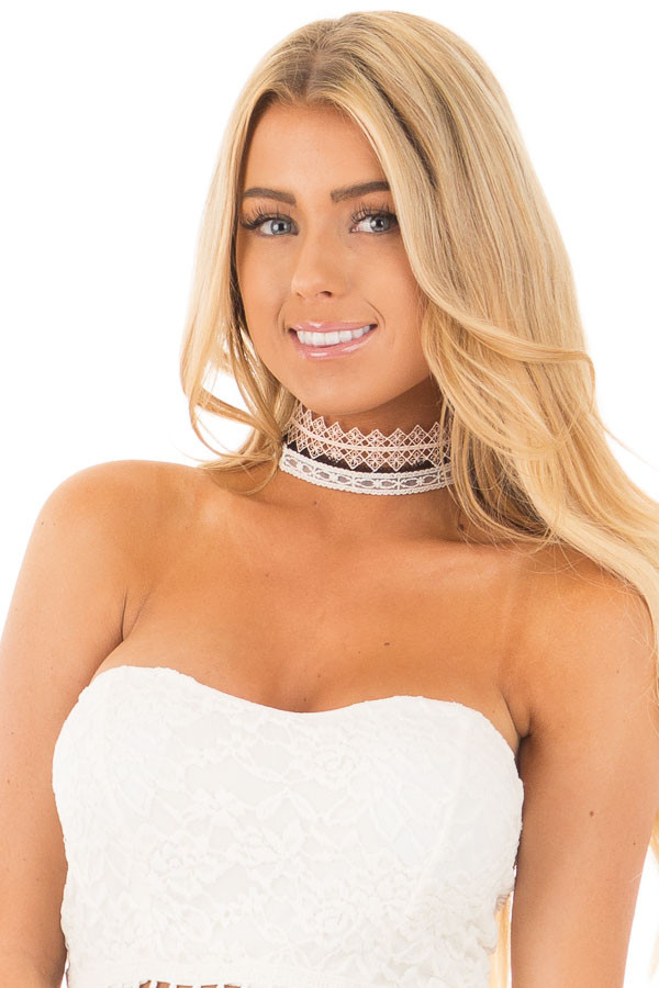 Black and Ivory Set of Three Choker Necklaces