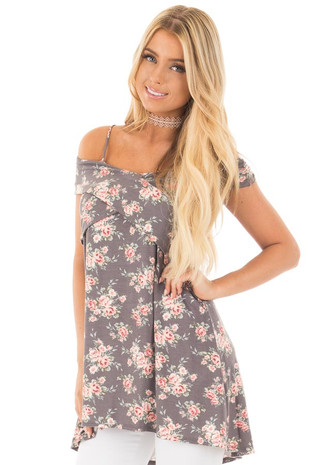 Grey and Blush Floral Print Cold Shoulder Comfy Top front close up