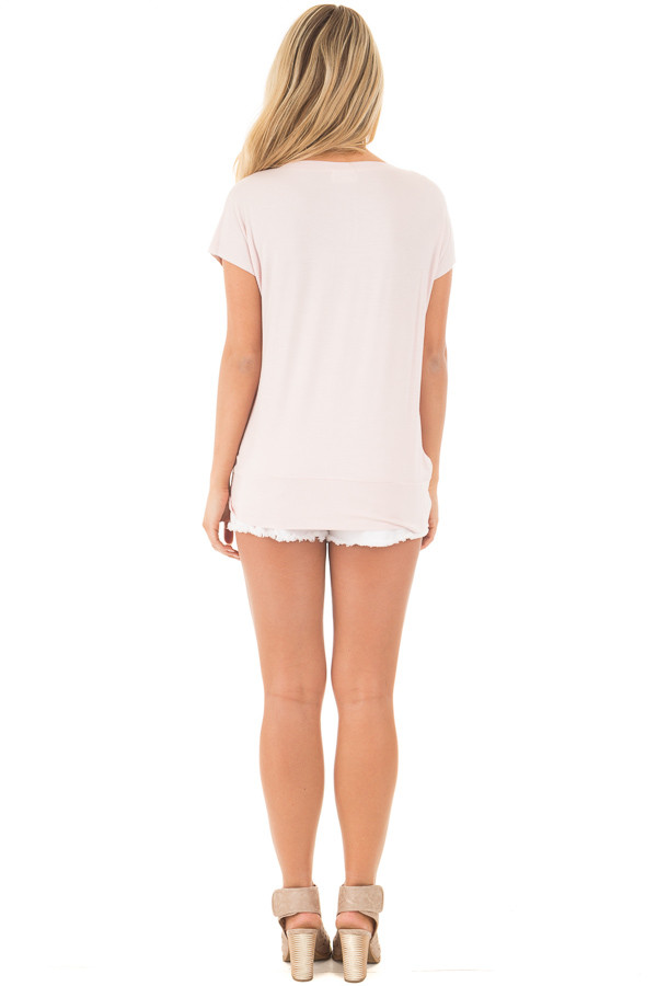 Blush and Coco Twisted Color Block Top back full body