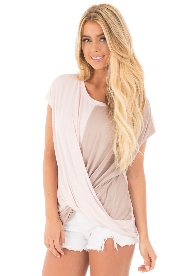 Blush and Coco Twisted Color Block Top front close up