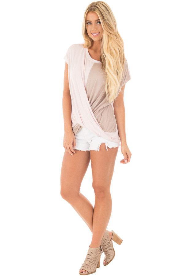 Blush and Coco Twisted Color Block Top front full body
