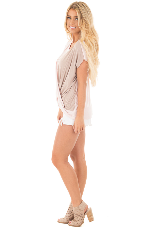 Blush and Coco Twisted Color Block Top side full body