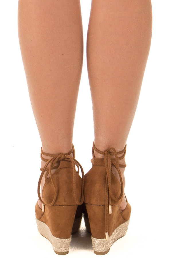 Camel Faux Suede Open Toe Tie Up Wedges back view