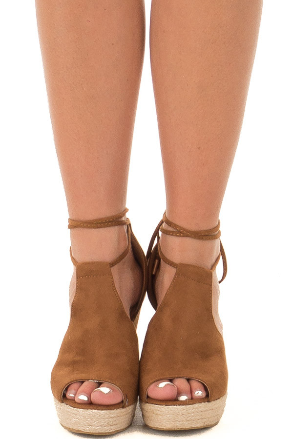 Camel Faux Suede Open Toe Tie Up Wedges front view
