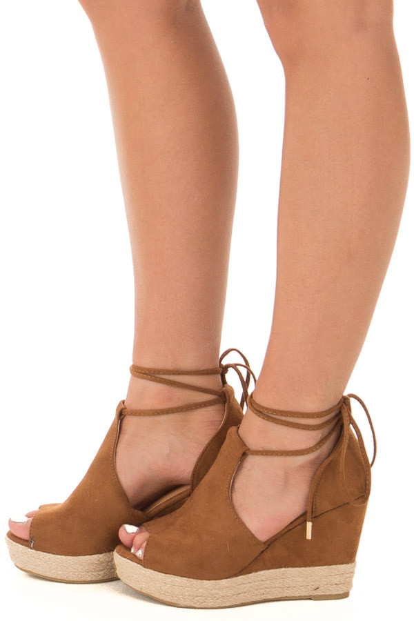 Camel Faux Suede Open Toe Tie Up Wedges side view