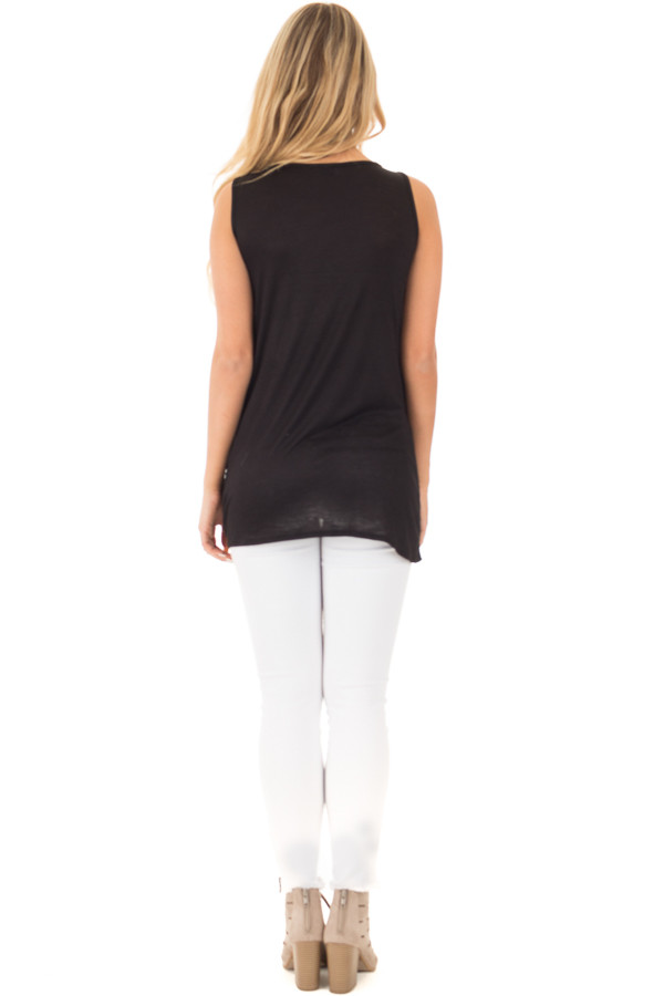 Black Loose Fit Tank with Twisted Front Detail back full body