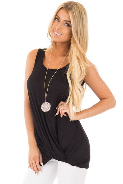 Black Loose Fit Tank with Twisted Front Detail front close up
