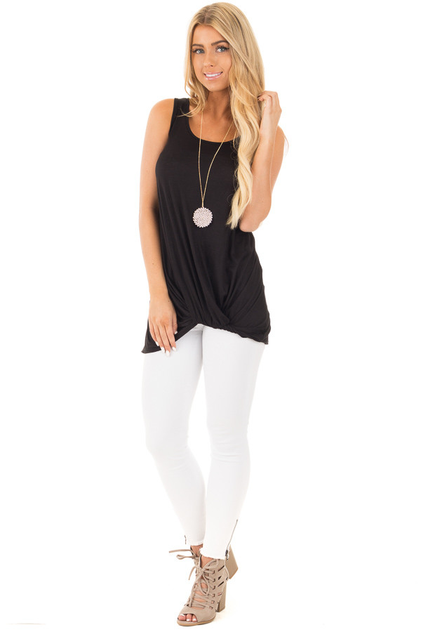 Black Loose Fit Tank with Twisted Front Detail front full body