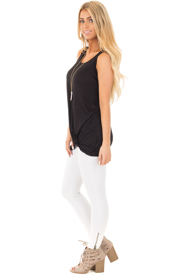 Black Loose Fit Tank with Twisted Front Detail side full body
