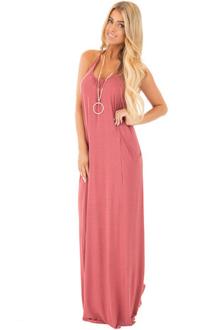 Marsala Maxi Tank Dress with T Strap Open Back Detail front full body