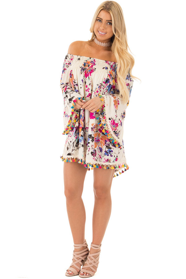 Ivory Floral Off Shoulder Tunic with Multi Color Tassel Trim front full body