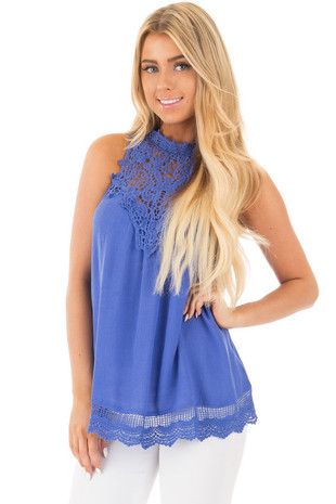 Royal Blue Halter Tank with Crochet Contrast and Details front close up