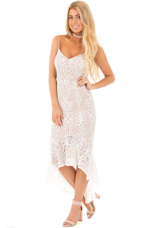White Crochet Sleeveless Mermaid Dress with Nude Lining front full body