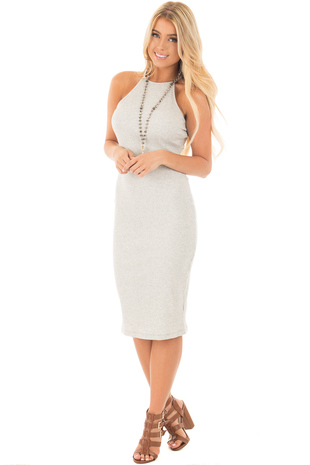 Heather Grey Ribbed Bodycon Halter Dress front full body