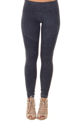 Faded Denim Moto Leggings with Stitched Detail front view