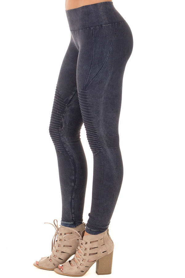 Faded Denim Moto Leggings with Stitched Detail side right leg