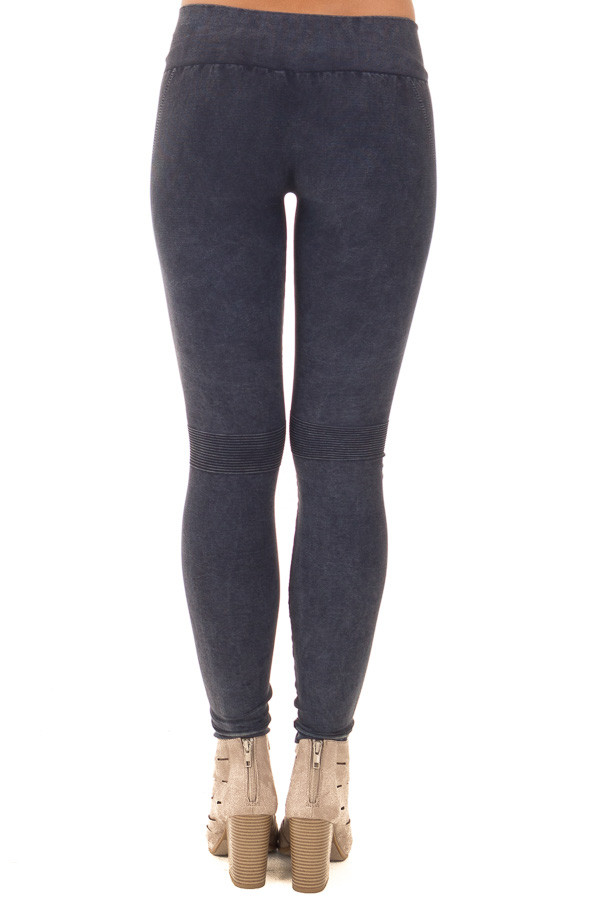 Faded Denim Moto Leggings with Stitched Detail back view