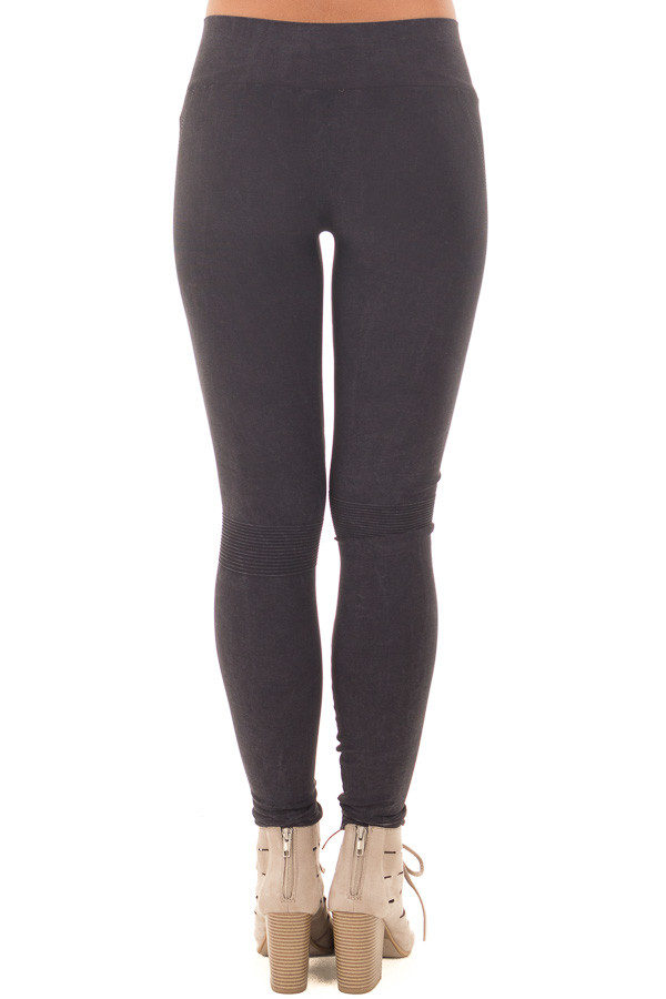 Black Moto Leggings with Stitched Detail back view