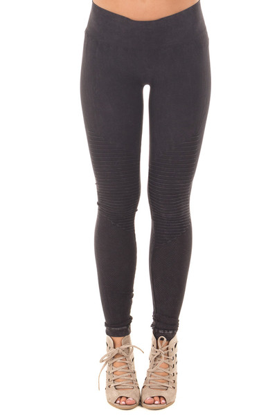 Black Moto Leggings with Stitched Detail front view