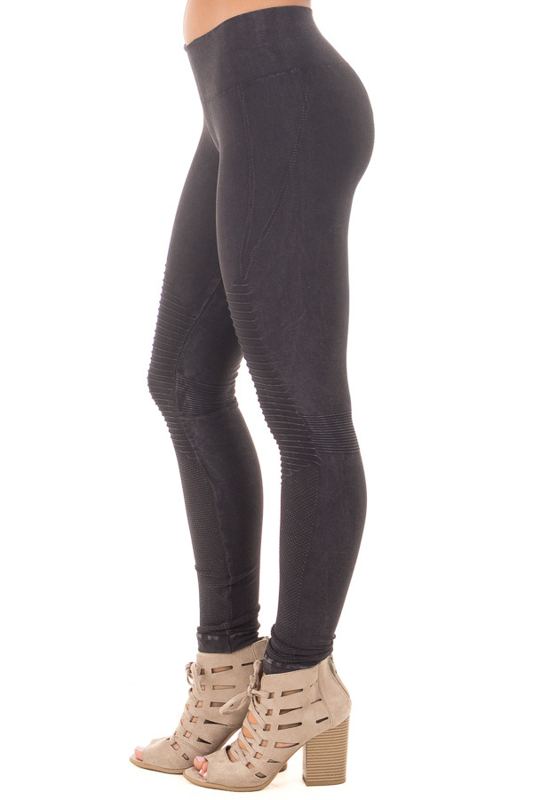 Black Moto Leggings with Stitched Detail side right leg
