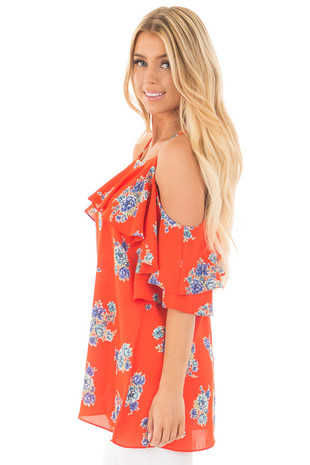 French Marigold Cold Shoulder Floral Ruffle Top side close up