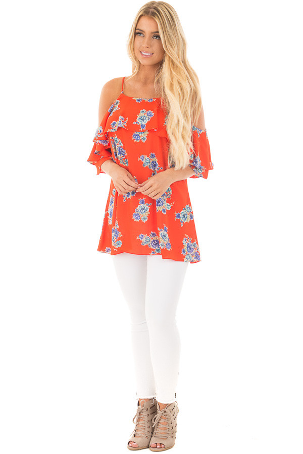 French Marigold Cold Shoulder Floral Ruffle Top front full body