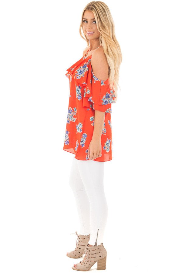 French Marigold Cold Shoulder Floral Ruffle Top side full body