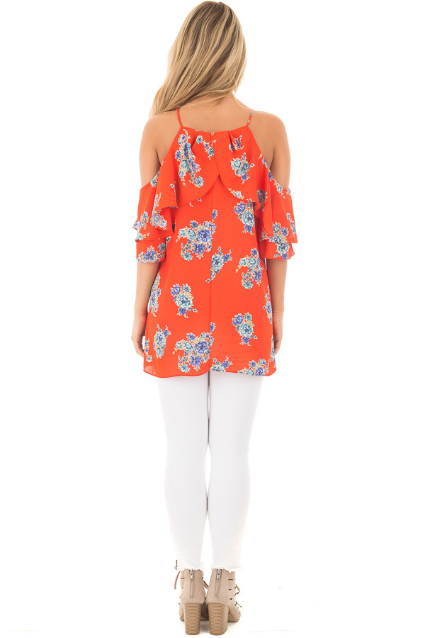 French Marigold Cold Shoulder Floral Ruffle Top back full body
